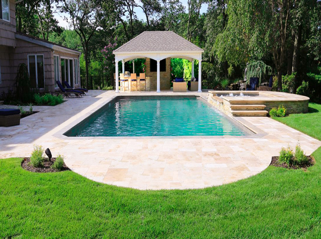 Formal rectangular pool waterfall outdoor TV and spa with pool pavillion in Smithtown