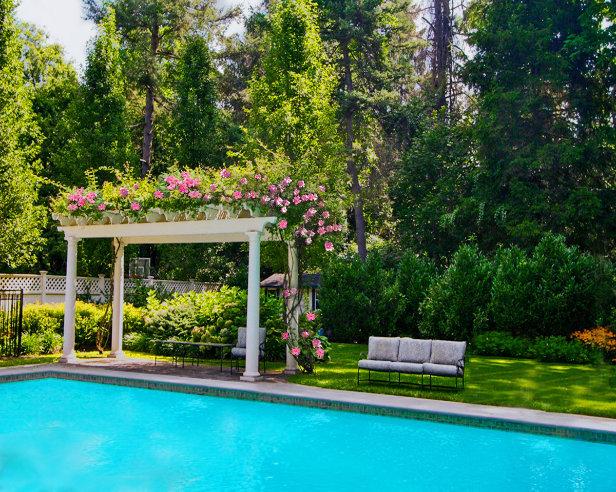 Vine covered pergola with formal pool with blue stone patio in Brookville