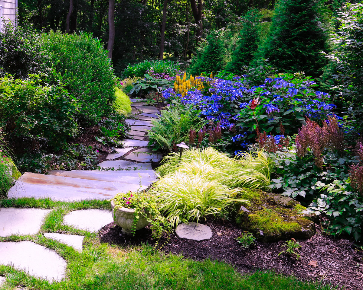 Natural bluestone path with mulch garden with exotic privacy planting in Huntington